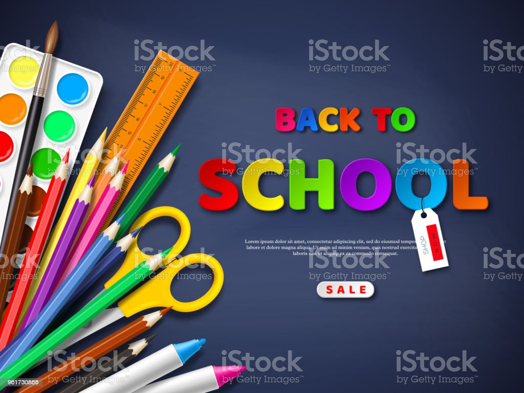 Back to school sale poster with realistic school supplies. Paper cut style letters on blackboard background. Vector illustration. vector art illustration