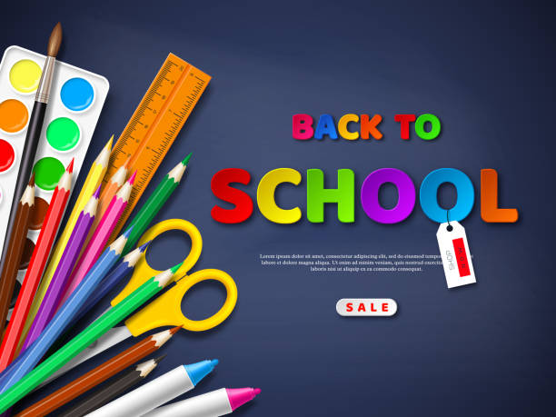 Back to school sale poster with realistic school supplies. Paper cut style letters on blackboard background. Vector illustration. Back to school sale poster with realistic school supplies. Paper cut style letters on blackboard background. Vector illustration. back to school stock illustrations