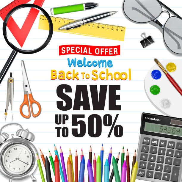 back to school sale promotion poster vector art illustration