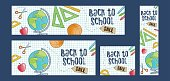 Back to school sale set of four web banners. Four different sizes, doodle cartoon style featuring school supplies