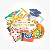 Back To School Sale Tag or Label with Education Icons. Assorted cute icons with sale text and label.