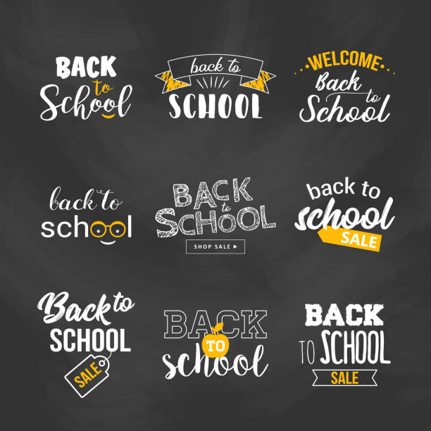 Back to school sale text typography set. Back to school sale text typography set. Vector illustration back to school stock illustrations
