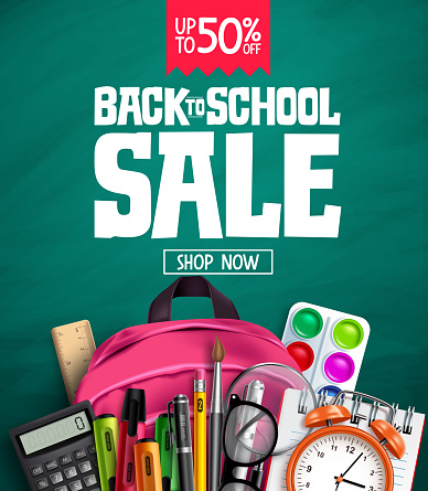 Back to school sale vector banner design. Back to school promotion text  with 50% off educational supplies
