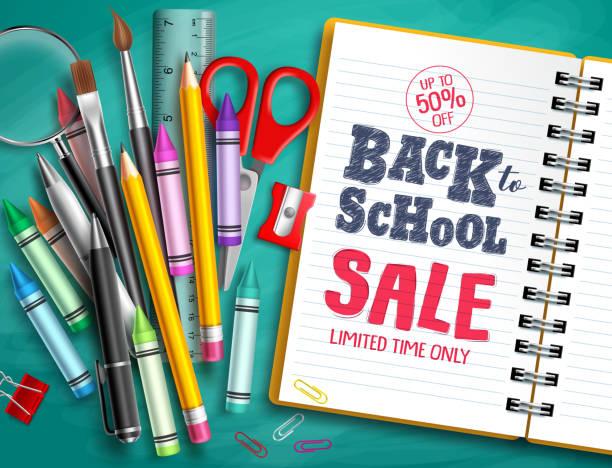 stockillustraties, clipart, cartoons en iconen met terug naar school te koop vector banner design met school supplies, onderwijselementen - schoolspullen