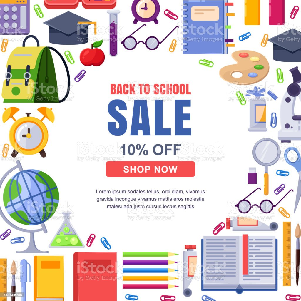 Back To School Sale Vector Banner Poster Template Education White ...