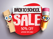 Back to school sale vector banner with funny school characters and red sale text in white background for education school shopping promotion. Vector illustration.
