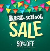 Back to school sale vector design with colorful streamers hanging and sale text in green background for educational promotion. Vector illustration.