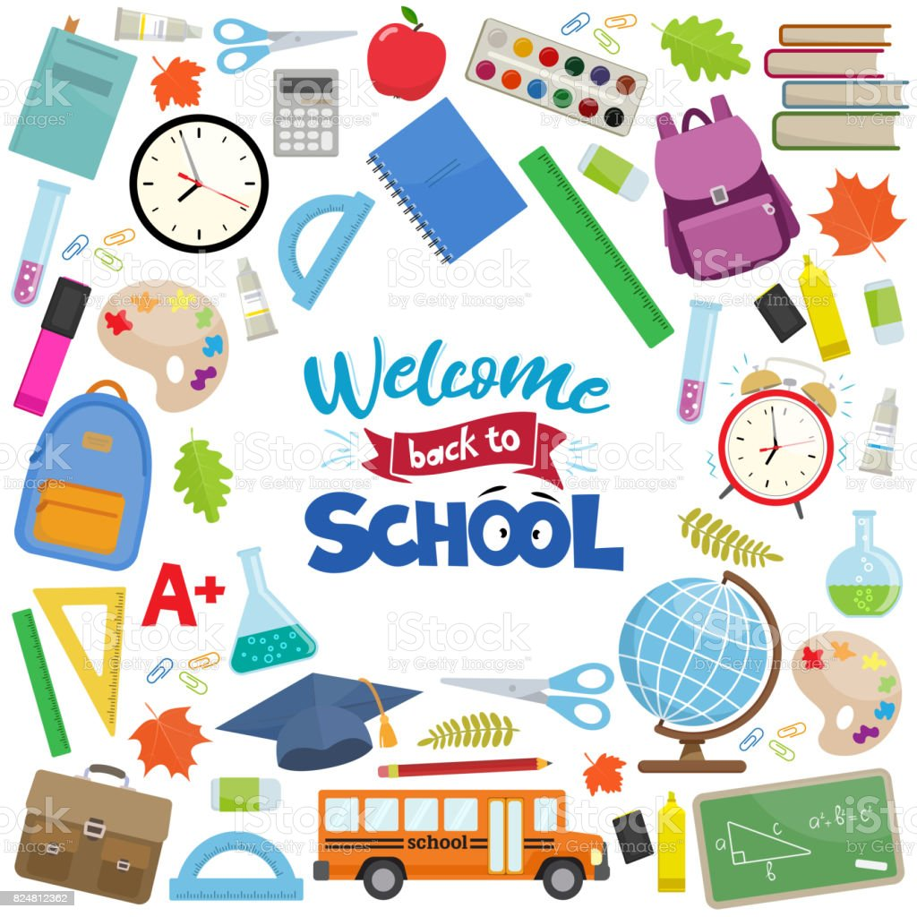 Back to school sale vector art illustration