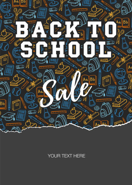 Back To School Sale Back to school sale - Illustration school supplies border stock illustrations