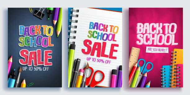 Back to school sale vector poster design set with colorful school supplies, educational items vector art illustration
