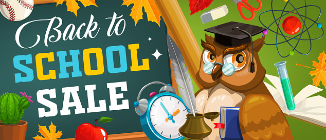 Back to school sale vector poster with owl teacher