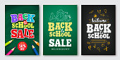 Back to school sale vector set of poster and banner