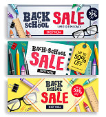 Back to school sale vector web banner set. Sale discount text with colorful items and elements for Back to school promotions. Vector illustration.