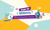Back to school sale vector set of poster and banner with colorful title and elements