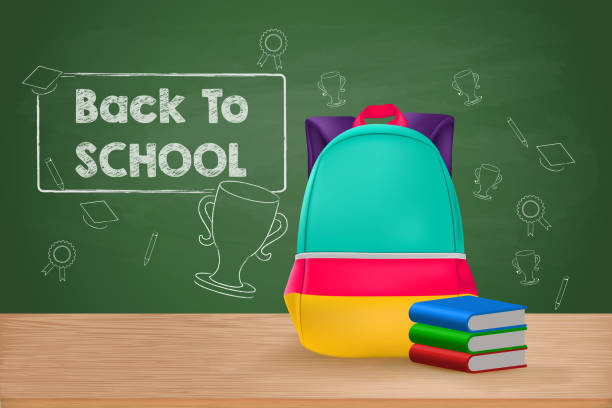 Back to School, School Bag and Books on Wooden Table vector art illustration