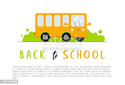 istock Back to school. School kids riding yellow schoolbus transportation education. Welcome back to school concept. Vector illustration of riding on a yellow school bus 1321440668