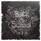 Back to School Scribbles on a Black Chalkboard.