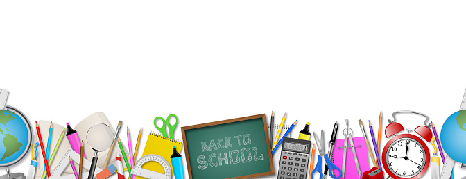 Back to school seamless banner with realistic school supplies