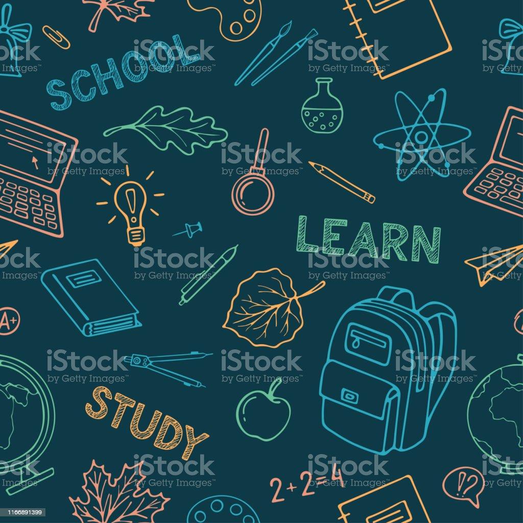 学校に戻るシームレスなパターンの背景 手でグラフィック壁紙包装紙用ベクトルパターンモダンなラインアイコンの学用品付きイラスト いたずら書きのベクターアート素材や画像を多数ご用意 Istock