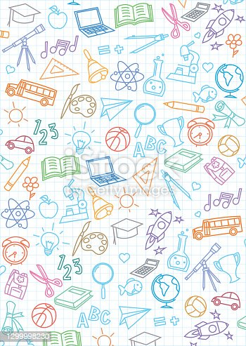 istock Back to school seamless pattern background 1299998230