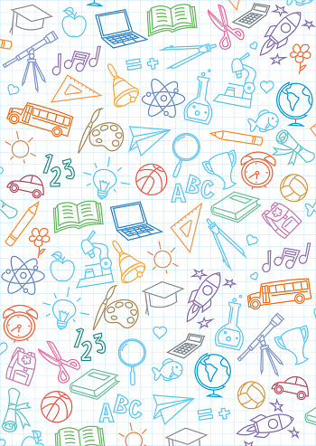 Back to school seamless pattern background