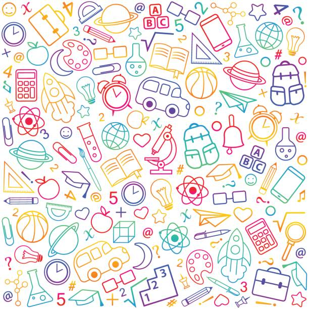 Back to school seamless pattern from education, science objects Back to school seamless pattern from education, science objects and office supplies. White vector background with colorful line art icons. elementary school stock illustrations