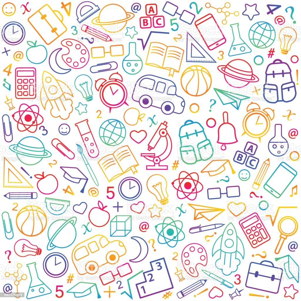 Back to school seamless pattern from education, science objects vector art illustration