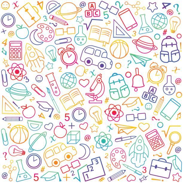 Volver a patrones sin fisuras de la escuela de educación, objetos de la ciencia - ilustración de arte vectorial