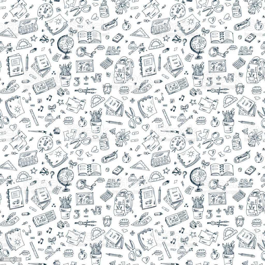 Back to school. Seamless pattern of doodle school supplies - Illustration vectorielle