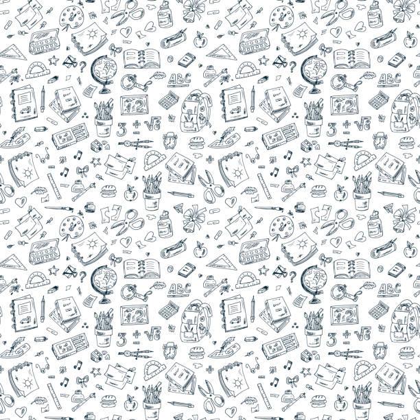Back to school. Seamless pattern of doodle school supplies vector art illustration
