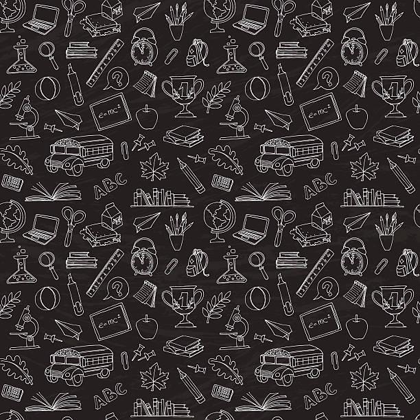 新学期のシームレスなパターンのお子様のスケッチ - 学校の文房具点のイラスト素材/クリップアート素材/マンガ素材/アイコン素材