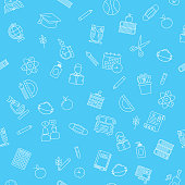 Back To School Supplies background of icons. Lots of elements including books, bus, apple, n95 masks etc. Created in CMYK. Flat colors