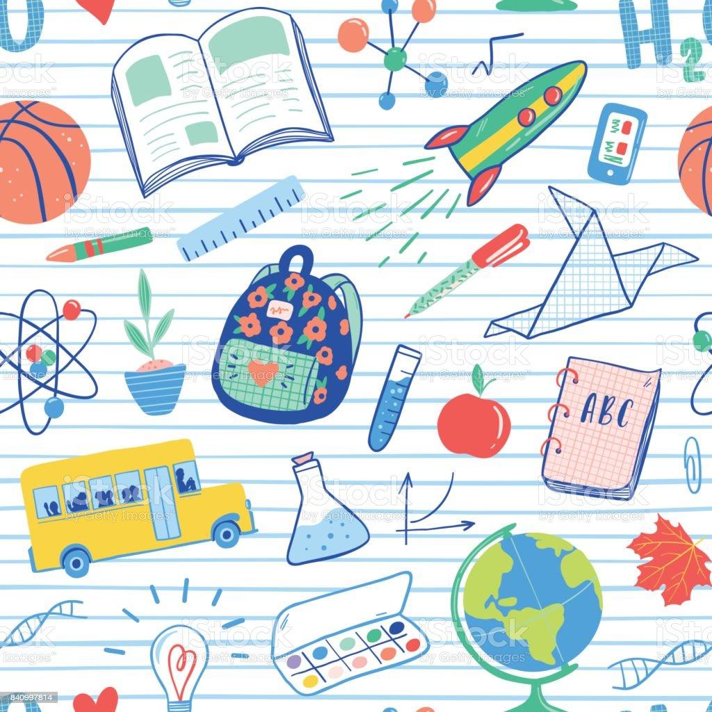 Retour à motif sans soudure d'école. Vecteur des autobus scolaires, fusée, globe, sac à dos, boule, livre, chimie, tubes à essai, peinture, plante, téléphone. École doodles icons illustration manche courte. - Illustration vectorielle