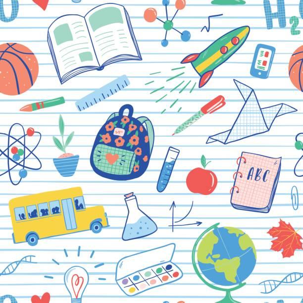 ilustrações, clipart, desenhos animados e ícones de volta para o padrão de uniforme de escola. vetor de ônibus escolar, foguete, globo, mochila, bola, livro, química, tubos de ensaio, pintura, planta, telefone. ilustração de ícones escola doodles. - aula de ciências