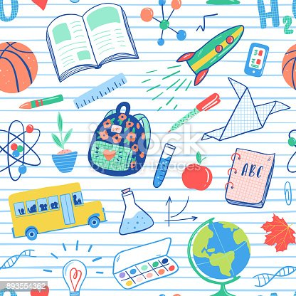 Back to school seamless pattern. Vector school bus, rocket, globe, backpack, ball, book, chemistry, test tubes, paint, plant, telephone. School doodles icons illustration.