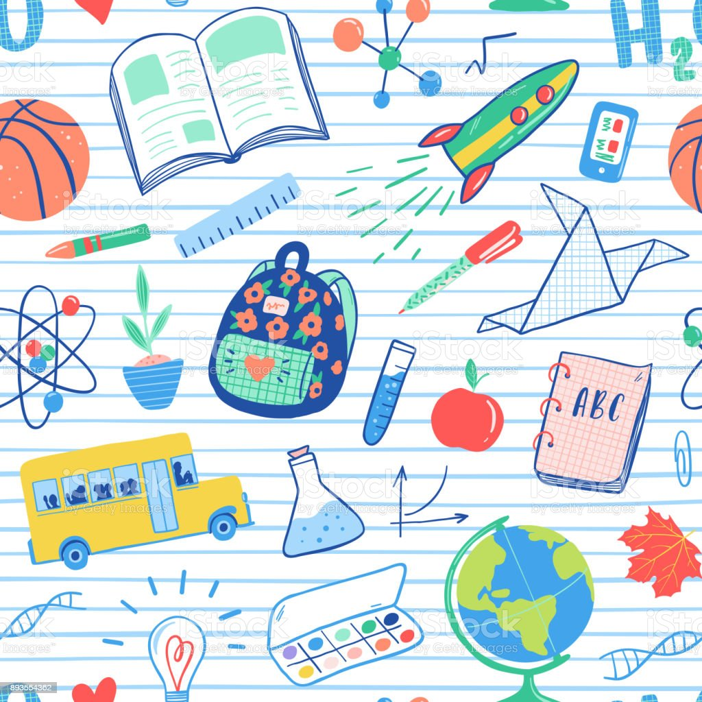 Back to school seamless pattern. Vector school bus, rocket, globe, backpack, ball, book, chemistry, test tubes, paint, plant, telephone. School doodles icons illustration. vector art illustration