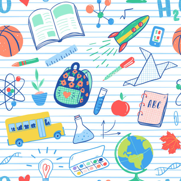 back to school seamless pattern. vector school bus, rocket, globe, backpack, ball, book, chemistry, test tubes, paint, plant, telephone. school doodles icons illustration. - science class stock illustrations, clip art, cartoons, & icons