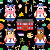 Back to school seamless  with funny animals