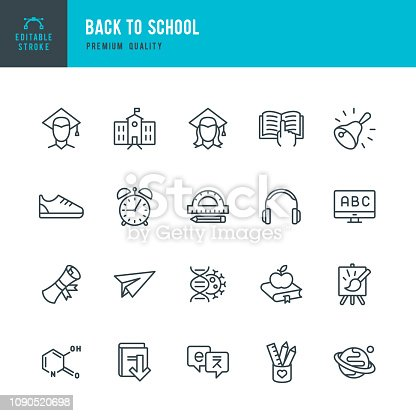 Set of 20 School and Science thin line vector icons