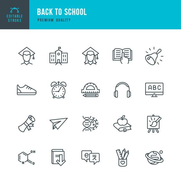 Zurück zur Schule - Linie Vektor-Icons set – Vektorgrafik