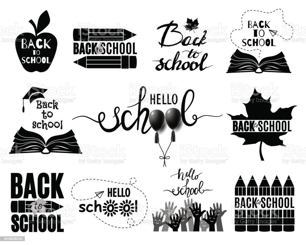 Zurück Zu Schulset Logos Auf Weißem Hintergrund Alle Etiketten ...
