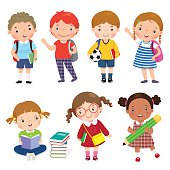 Back to school. Set of school kids in education concept.