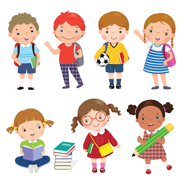 Back to school. Set of school kids in education concept. Back to school. Set of school kids in education concept. book clipart stock illustrations