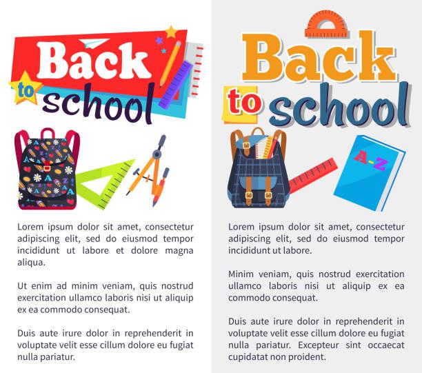 ilustraciones, imágenes clip art, dibujos animados e iconos de stock de back to school set de pegatinas en blanco y gris - regreso a clases