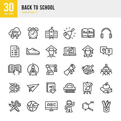 Back to School - set of thin line vector icons