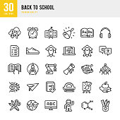Set of 30 school and education thin line vector icons