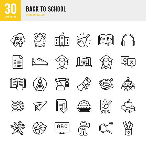 Back to School - set of thin line vector icons Set of 30 school and education thin line vector icons alphabet symbols stock illustrations