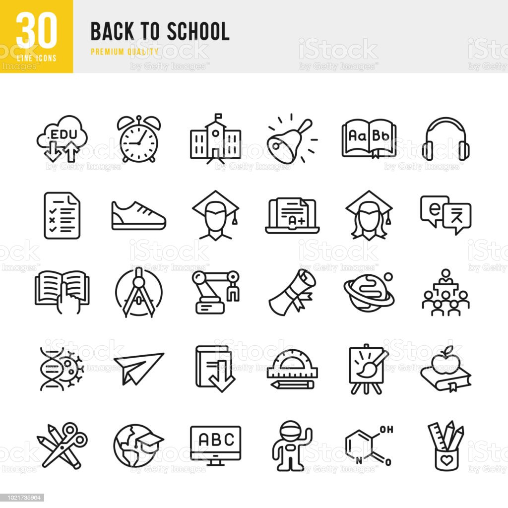 Back to School - set of thin line vector icons vector art illustration