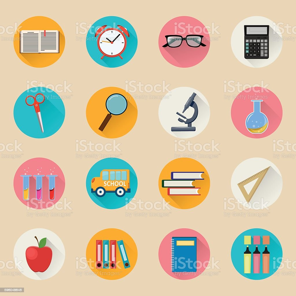 Back to school. Set of vector illustrations royalty-free back to school set of vector illustrations stock vector art & more images of alarm clock