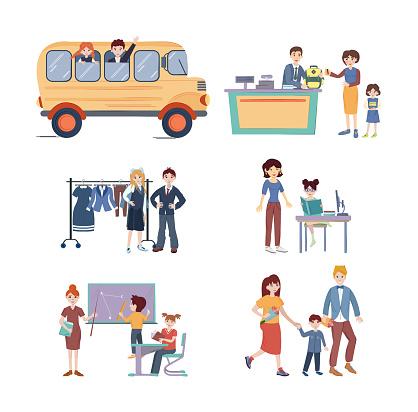 Back to School set. School kids with teacher in classroom, school kids are preparing homework, parents are leading children to school, buy school bag in store, school kids riding school bus